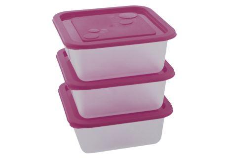 Kunststoffdosen-Set KUBE 0,55 l 3 Stk. violett