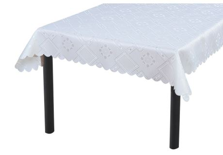 Jacquard-Tischdecke KUBE weiß 90x90 cm