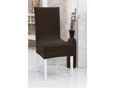 Spannbezug für Stuhl mit Rückenlehne 2 Stk. Braun