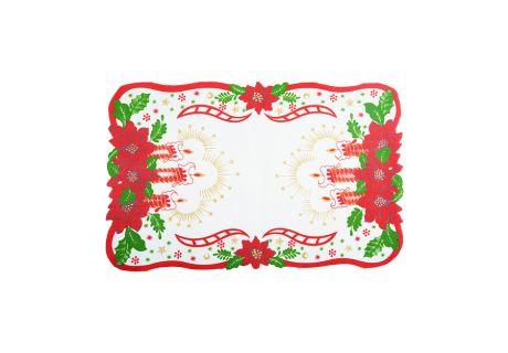 Weihnachtstischdecke Weihnachtskerzen 28x43 cm